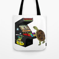 ninja turtle Tote Bags featuring Arcade Ninja Turtle by Michowl