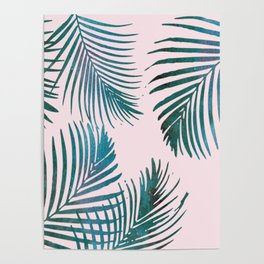 Green Palm Leaves on Light Pink Poster