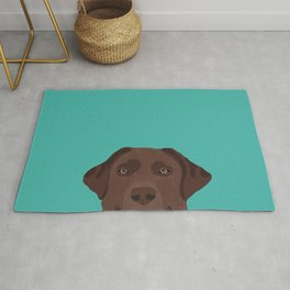 Chocolate Lab peeking dog head labrador retriever must have funny dog breed gifts Rug