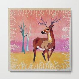 Floral Deer Acrylic Painting Metal Print