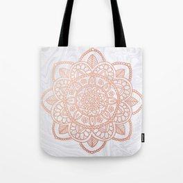 Rose Gold Mandala on White Marble Tote Bag