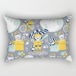 The cat who loves rainy nights Rectangular Pillow