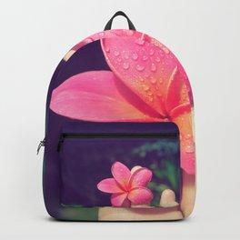 pua melia pink tropical plumeria hawaii Backpack