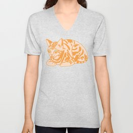 Cute Seated Cat Illustration Unisex V-Neck