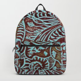 Light Blue & Brown Tooled Leather Backpack