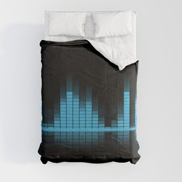 Cool Blue Graphic Equalizer Music on black Comforters