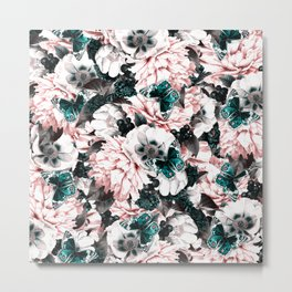 night and day flowers butterflies pattern pink turquoise Metal Print