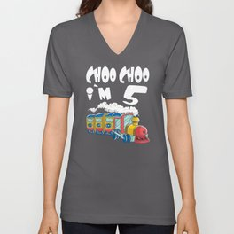 Choo Choo I'm 5 Children's Birthday Train Unisex V-Neck