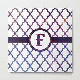 Galaxy Monogram: Letter F Metal Print