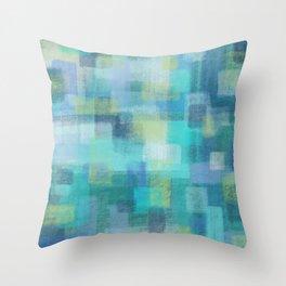 Blue Blocks by Jillian Amatt Designs Throw Pillow