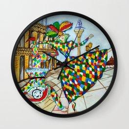 Arlecchino and Colombina. Carnival of Venice. Wall Clock