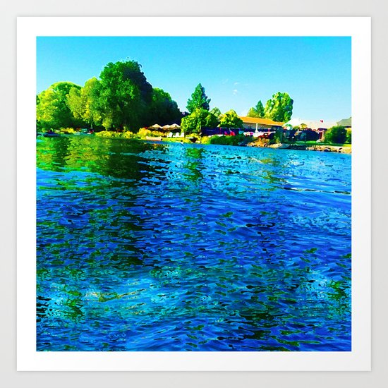 Bright River Flowing Art Print