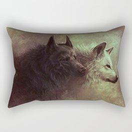 Black and White Wolf Painting Rectangular Pillow