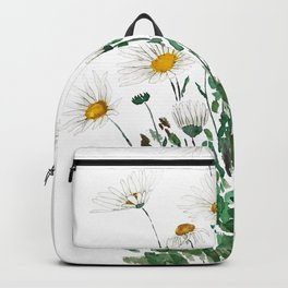 white Margaret daisy watercolor Backpack