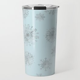 Assorted Silver Snowflakes On Light Blue Background Travel Mug