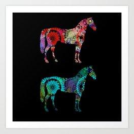 Clock Work Horses Art Print