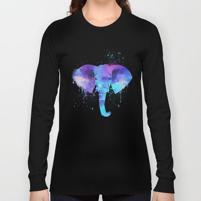 Watercolor Elephant Head Long Sleeve T-shirt