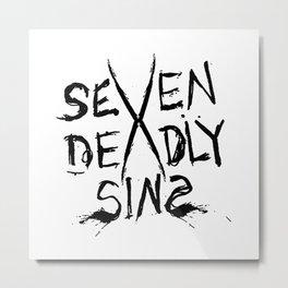 Seven Deadly Sins Typo Metal Print