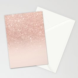 Rose gold faux glitter pink ombre color block Stationery Cards