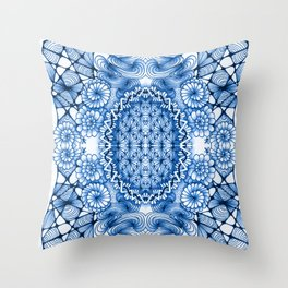 Blue Zentangle Tile Doodle Design Throw Pillow