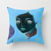 doll Throw Pillows featuring Doll by Lily Art