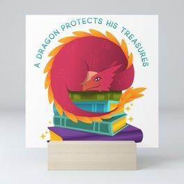 A Dragon Protects His Treasures (books) Mini Art Print