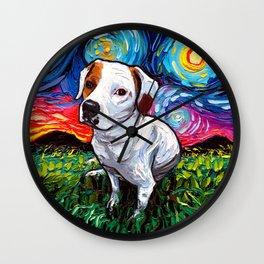 Pitbull Mix Starry Night Wall Clock