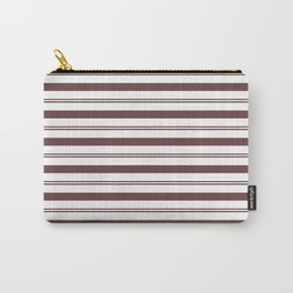 Pantone Red Pear and White Stripes, Wide and Narrow Horizontal Line Pattern Carry-All Pouch
