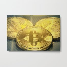 Bitcoins macro big round mojo Metal Print