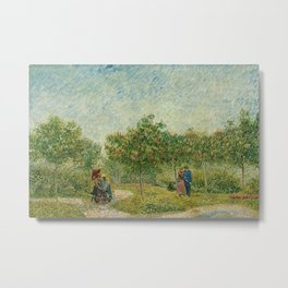 Garden with Courting Couples - Square Saint-Pierre by Vincent van Gogh Metal Print