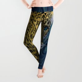 Leopard with the Sky in His Eyes Leggings