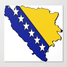 Bosnia and Herzegovina Map with Flag Canvas Print