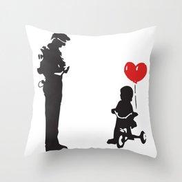 Banksy Policeman & girl on bike, Streetart Street Art, Grafitti, Artwork, Design For Men, Women, Kid Throw Pillow