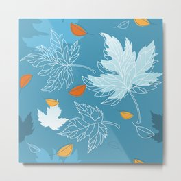 Lovely blue sky illustration with autumn leaves pattern  Metal Print