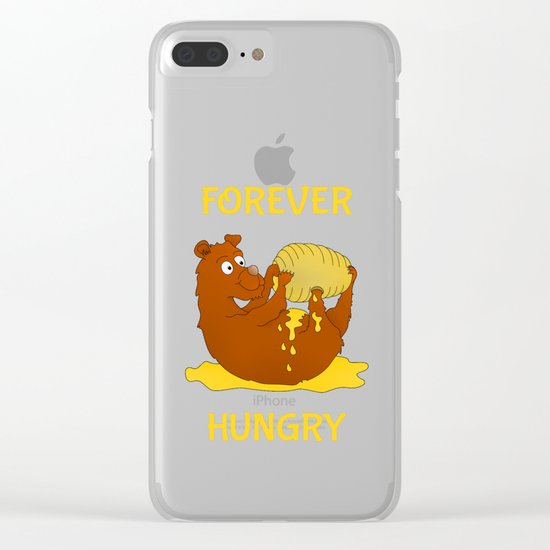 Hungry Bear Eating Honey Clear iPhone Case