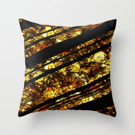 Gold Bars - Abstract, black and gold metallic, textured diagonal stripes pattern Throw Pillow