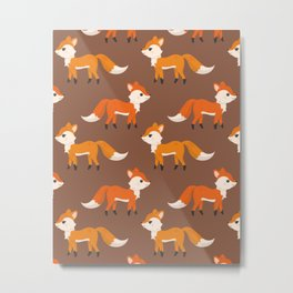 Cute Side View Fox Illustration with Brown Background Metal Print