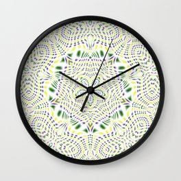 Yellow, Green, Purple Kaleidoscope Wall Clock