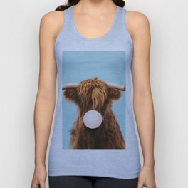 Bubble gum highland cattle in blue Unisex Tank Top