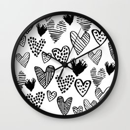 Hearts black and white hand drawn minimal love valentines day pattern gifts decor Wall Clock