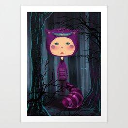 alice purple cat Art Print