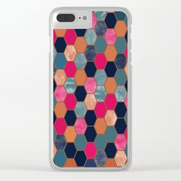 Colorful Honeycomb Clear iPhone Case