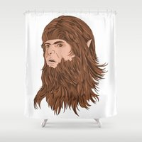teen titans Shower Curtains featuring Teen Wolf by Joseph Botcherby