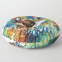 Otter Art - Ottertude - By Sharon Cummings Floor Pillow