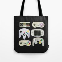 gamer Tote Bags featuring Gamer Nostalgia by discojellyfish