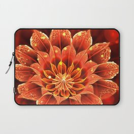Red Dahlia Fractal Flower with Beautiful Bokeh (Vivid Crimson) Laptop Sleeve