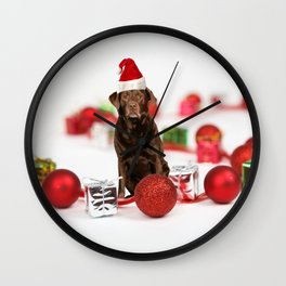 Labrador Dog Christmas w Gifts Santa Hat Wall Clock