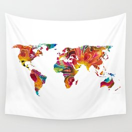 Map of The World 2 -Colorful Abstract Art Wall Tapestry