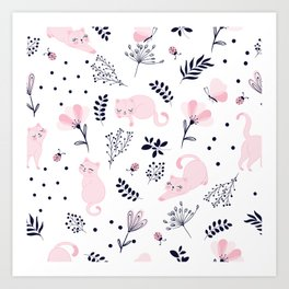 Cute pink cats vector illustration pattern Art Print