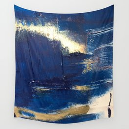 Halo [2]: a minimal, abstract mixed-media piece in blue and gold by Alyssa Hamilton Art Wall Tapestry